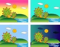 Vier seizoenen van de overzeese dag Stock Afbeeldingen