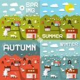 Vier seizoenen vectorillustratie Royalty-vrije Stock Foto