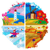 Vier seizoenenlandschap Royalty-vrije Stock Afbeelding