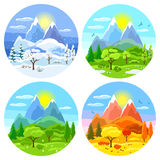 Vier seizoenenlandschap Illustraties met bomen, bergen en heuvels in de winter, de lente, de zomer, de herfst royalty-vrije illustratie