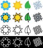 Vier seizoenensymbolen in kleur of zwart-wit Stock Illustratie