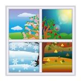 Vier seizoenenvenster, vector Stock Afbeelding
