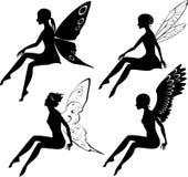 Vier silhouetten van feeën Stock Foto's