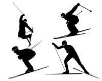 Vier Skifahrer Stock Abbildung