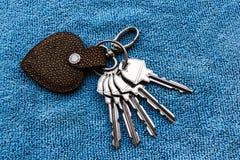 Vier sleutels met metaalring Stock Foto's