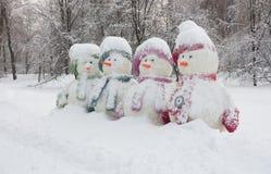 Vier Sneeuwmannen Stock Fotografie