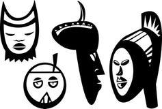Vier Soedanese Maskers Stock Foto