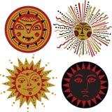 Vier soorten zon in de oude Russische stijl Royalty-vrije Stock Afbeeldingen