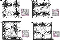 Vier Spaß-Platz-Labyrinthe Lizenzfreies Stockfoto