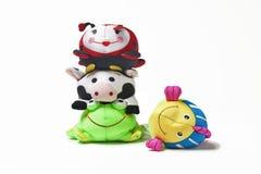 Vier Speelgoed op een rij Royalty-vrije Stock Afbeeldingen