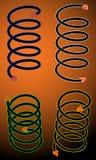 Vier spiraalvormige pijlen Stock Foto