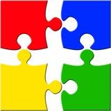 Vier Stück-Puzzlespiel über dem Weiß getrennt stockbild
