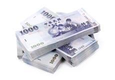 Vier Stapels Nieuwe de Dollarbankbiljetten van Taiwan Royalty-vrije Stock Afbeeldingen
