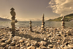 Vier steenpiramides Royalty-vrije Stock Foto