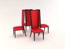 Vier stoelen die op witte achtergrond worden geïsoleerda Royalty-vrije Stock Afbeelding