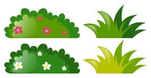 Vier struiken met en zonder bloemen royalty-vrije illustratie