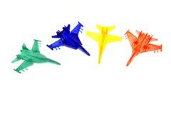 Vier stuk speelgoed vliegtuigen Royalty-vrije Stock Afbeeldingen