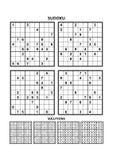 Vier sudokuspelen met antwoorden royalty-vrije illustratie