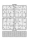Vier sudokuspelen met antwoorden stock illustratie