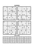 Vier sudokuspelen met antwoorden Reeks 11 vector illustratie