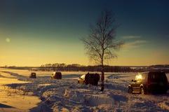 Vier SUV op een de winterzonsondergang Stock Afbeelding