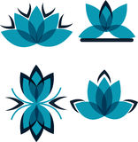 Vier Symbole von den blauen Blumenblättern Stockfoto