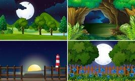 Vier Szenen in der Nacht stock abbildung