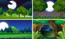 Vier Szenen des Parks in der Nacht stock abbildung