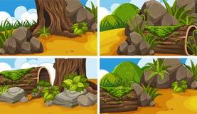 Vier Szenen mit Holz im Park Lizenzfreies Stockfoto