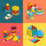 Vier thematische groepen peuterkinderenspeelgoed Vector isometrische illustraties royalty-vrije illustratie