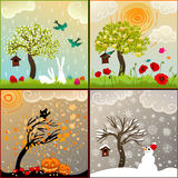 Vier themenorientierte Illustrationen der Jahreszeiten stellten mit Apfelbaum, Vogelhaus und Umgebungen ein vektor abbildung