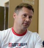 Vier-tijd Olympische kampioen Alexei Nemov in de sporten complexe ` Olympische ` stock fotografie