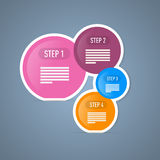 Vier Tutorschritte, Infographics-Netz-Plan. Stockfoto