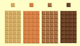 Vier types van fijnste chocolade royalty-vrije stock afbeelding