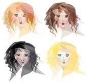 Vier types van vrouwengezichten Royalty-vrije Stock Afbeeldingen