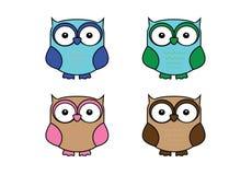 Vier uilen Royalty-vrije Stock Afbeelding