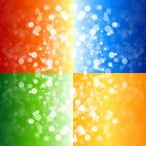 Vier undeutliche Leuchtehintergründe Lizenzfreie Stockfotos
