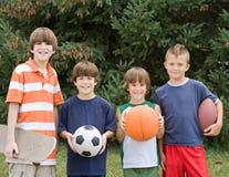 Vier unterschiedlicher Sport Lizenzfreie Stockfotos