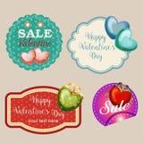 Vier Valentinsgrußaufkleber lizenzfreie abbildung