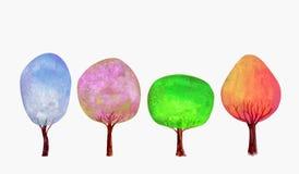 Vier van de de lentezomer van de seizoenenwinter de herfst blauwe roze groene gouden bomen geplaatst waterverfachtergrond vector illustratie
