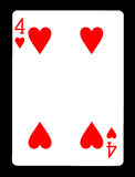 Vier van hartenspeelkaart, Stock Foto's