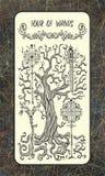 Vier van toverstokjes De Magische kaart van het Poorttarot royalty-vrije illustratie
