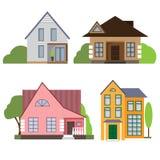 Vier Varianten von Gebäudefassaden Stockbild