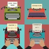 Vier vectorillustraties van retro schrijfmachines Co Stock Fotografie