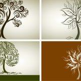 Vier Vectorsteekproeven van ontwerp met decoratieve boom Stock Foto