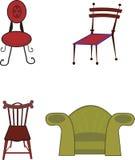 Vier vectorstoelen Royalty-vrije Stock Afbeelding