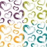 Vier Vektor-trockene Bürste Valentine Hearts Patterns Colorful auf Whit stockfoto