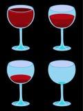 Vier vektorweingläser auf Schwarzem Stockfotos