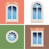 Vier vensters over gipspleisterachtergrond vector illustratie