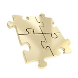 Vier verbonden geïsoleerde stukken van de raadselfiguurzaag Royalty-vrije Stock Afbeelding
